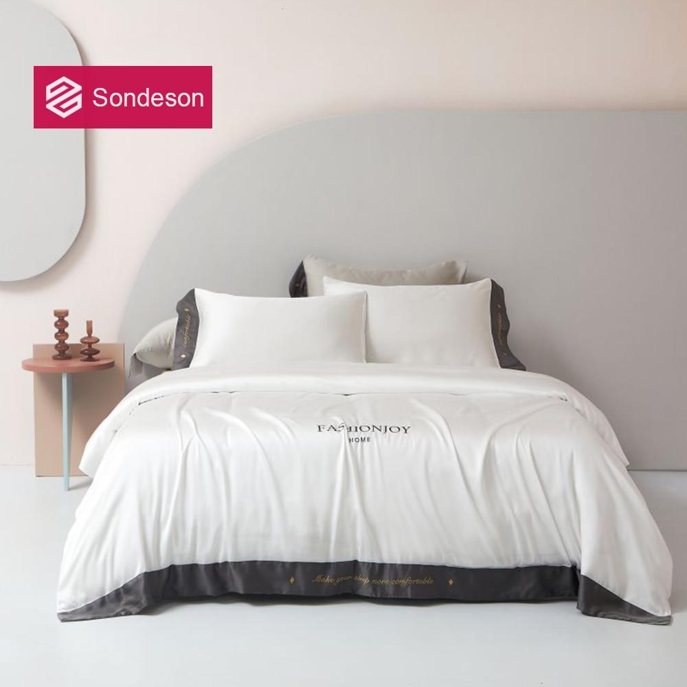 Sondeson White 6A Grade 100% Silk Bedding Set Healthy Skin Embroidery Duvet Cover Bed Linen Pillowcase Queen King Flat Sheet