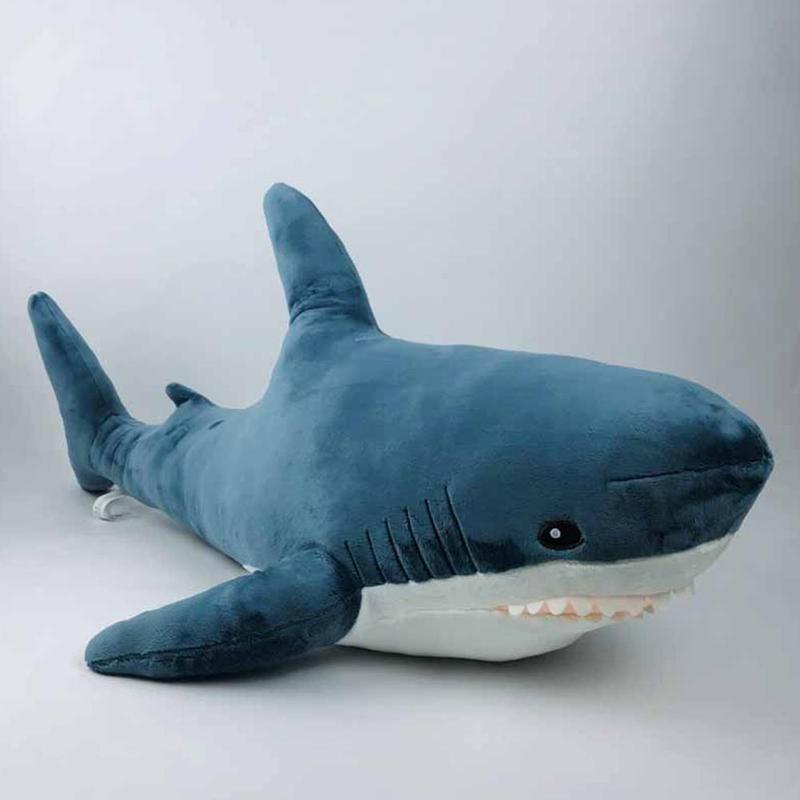 80 см Плюшевые игрушки акулы детские игрушки мягкие животные аксессуары для дома животных кукла детский подарок Компаньон с плюшевой подкла...