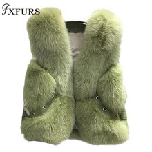 2020 New Real Fox Fur Coat Vests Short Design Ladies Winter Fashion Fur Waistcoats with Leather Rivet Fur Gilets Jackets Warm