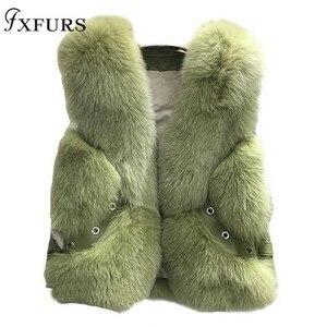 Image 1 - 2020 New Real Fox Fur Coat Vests Short Design Ladies Winter Fashion Fur Waistcoats with Leather Rivet Fur Gilets Jackets Warm