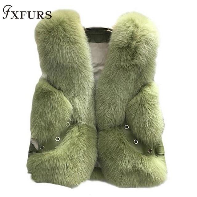 2020 New Real Fox Fur Coat Vests Short Design Ladies Winter Fashion Fur Waistcoats with Leather Rivet Fur Gilets Jackets Warm
