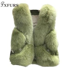 Image 1 - Gilet de fourrure de renard véritable, Design court, Gilets chauds à la mode avec Rivet en cuir, nouveauté 2020
