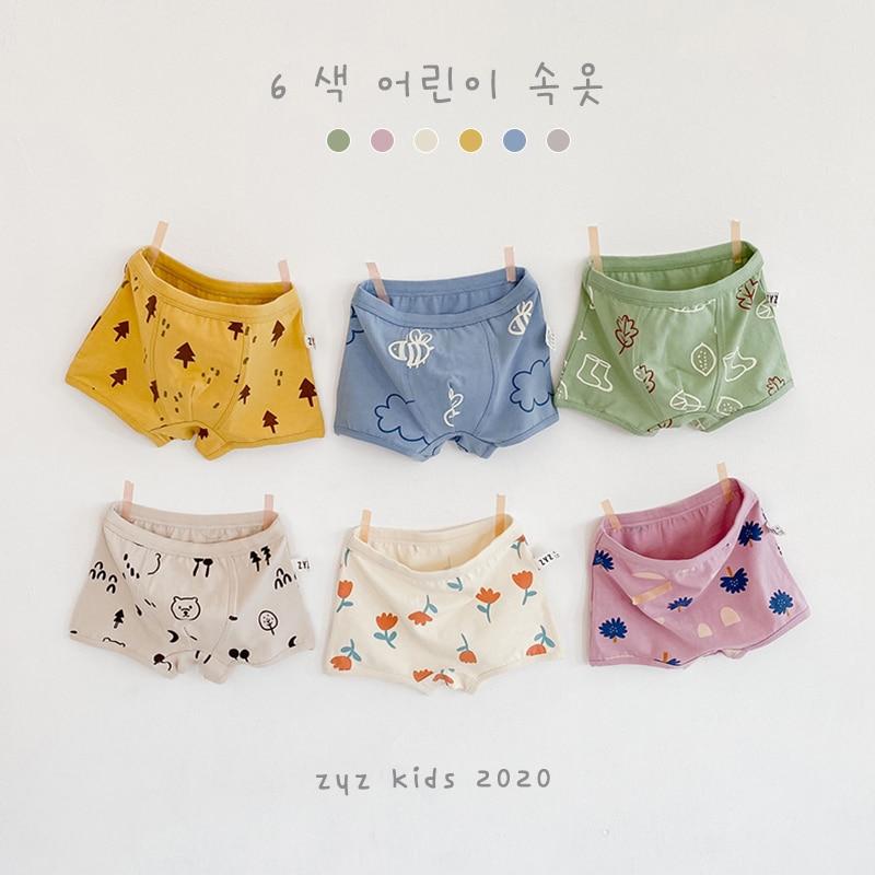 3-10y kids girls underwear for baby boys cute cotton child boxers girl pants panties Korean style Smile N011