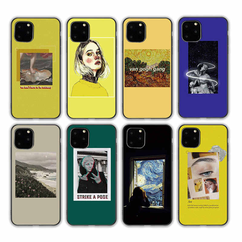 Ottwn Black TPU Phone Case For iPhone 11 Pro X XR XS Max 7 8 6 6s Plus 5 5s SE Silicone Cover Art Aesthetic Van Gogh Mona Lisa