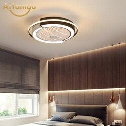 Ультратонкий потолочный вентилятор с умным дистанционным управлением, светодиодный светильник для гостиной и спальни