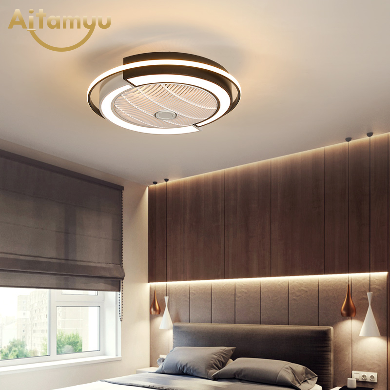 Smart remote control Ceiling Fans With Lights For Living Room Modern LED Cooling Ventilador Ultra-thin Bedroom lamp App control