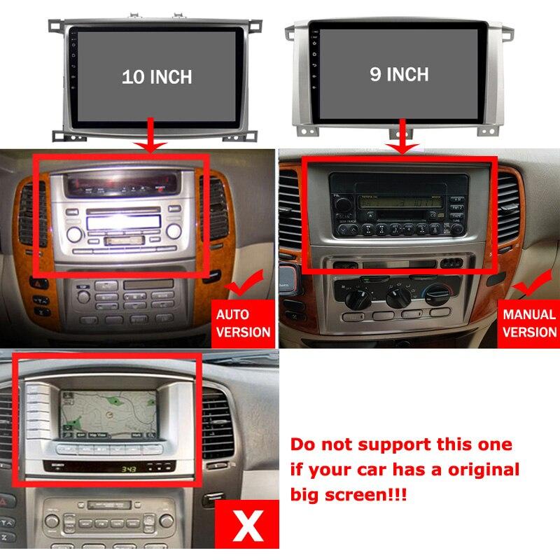 Android 10 zoll Auto Radio für Toyota Land cruiser 100 GX LC 100 Stereo GPS Navigation multimedia player zubehör keine 2 din pc