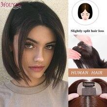 HOUYAN Womens/Mens 100% real hair with bangs 중간 섹션에서 똑바로 진짜 고품질 헤어 액세서리 헤어 핸드 메이드 h
