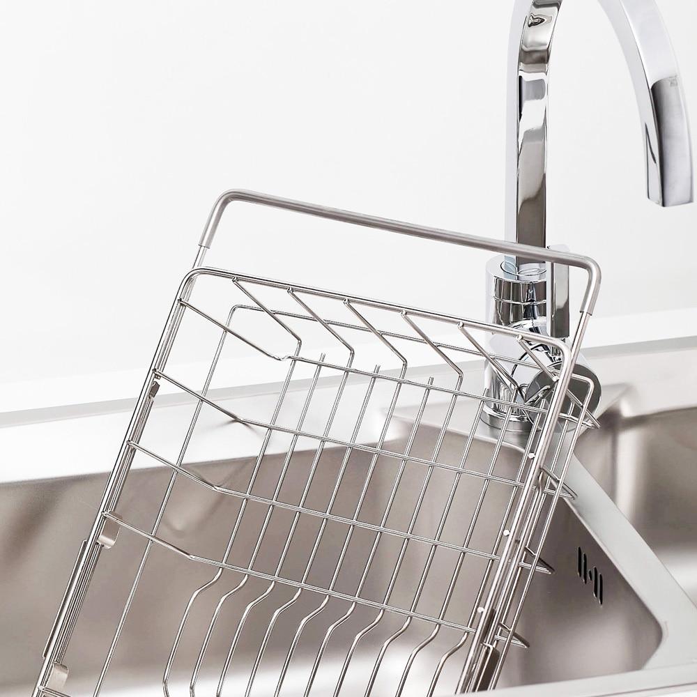 Permalink to Pull Retractable Drain Basket Rack Stainless Steel Sink Dish Rack Vegetables Basket Kitchen Sink Accessories