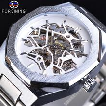 Forsining New Arrival Automatic Mechanical Business Montre Homme Waterproof Stainless Steel Skeleton Dial Top Brand Luxury Watch forsining transparent watches luminous design black stainless steel men automatic skeleton watch top brand luxury montre homme