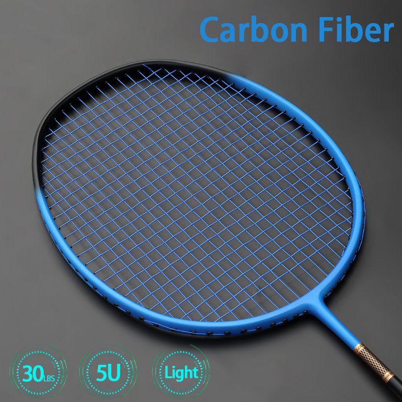 Professional Carbon Fiber Badminton Racket Ultra Light Rackets 5U 75-79g Raquette Speed Padel Light Weight With Bags Strings