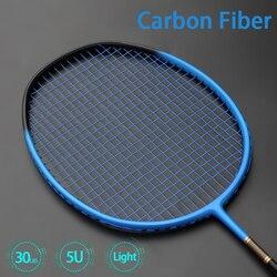 Raquete de badminton de fibra de carbono profissional ultra leve raquetes 5u 75-79g velocidade raquette padel peso leve com sacos cordas