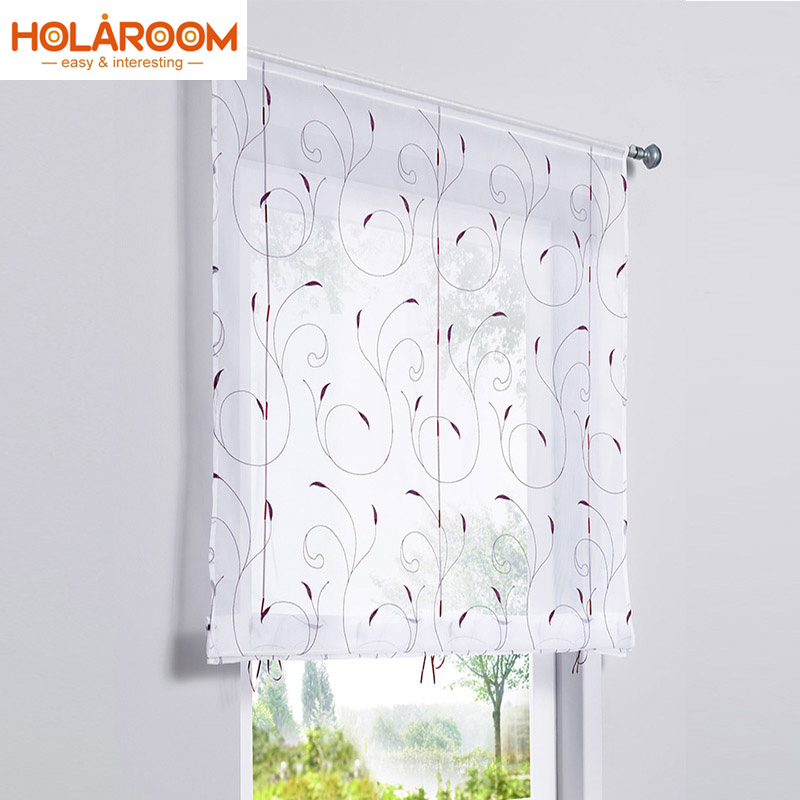 1PC Embroideried Roman Curtain Flat Window Tulle Voile Curtain European Style Curtains For Living Room Rod Pocket Cloth Tulle