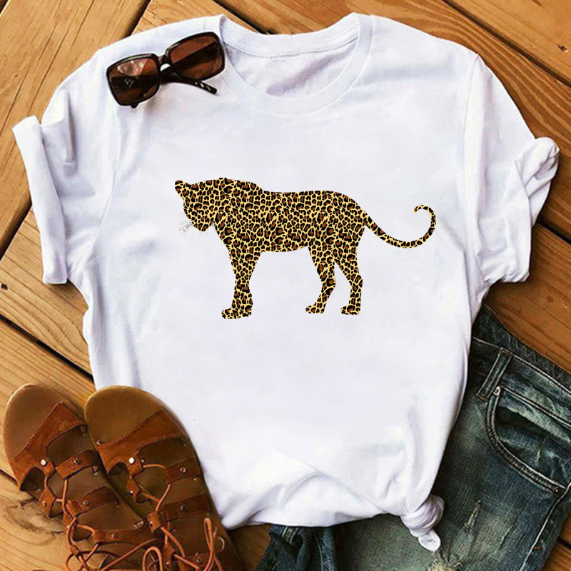 Maycaur Women Leopard T Shirt Harajuku Tumblr Femme Tops Cartoon Print Female O-neck T-shirt Loose Short Sleeve Top Female Shirt