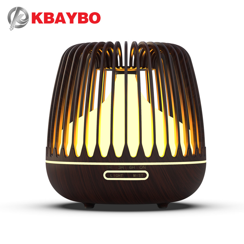 KBAYBO Air Humidifier Essential Oils Diffuser Ultrasonic Humidifier Wood Grain Humidify Air 7 Color LED Night Light For Home New