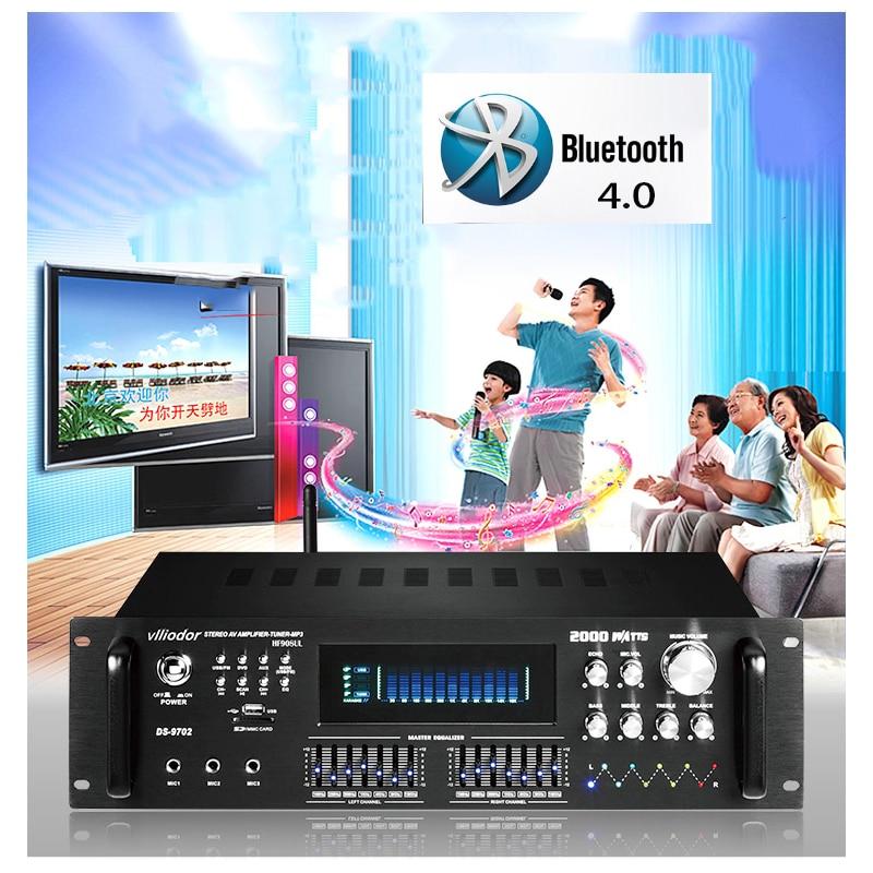 HF18-1001 210W*2 220V Home KTV Amplifier Computer 4.0 Bluetooth Amplifier USB Reverb Resistor HIFI Amplifier With remote control