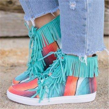 2020 Martin buty damskie buty za kostkę buty za kostkę sznurowane botki jesień wzór w cętki buty z frędzlami tanie i dobre opinie DAILOU Oksfordzie Płótno RUBBER Lace-up Pasuje prawda na wymiar weź swój normalny rozmiar Na co dzień Konopi Fringe