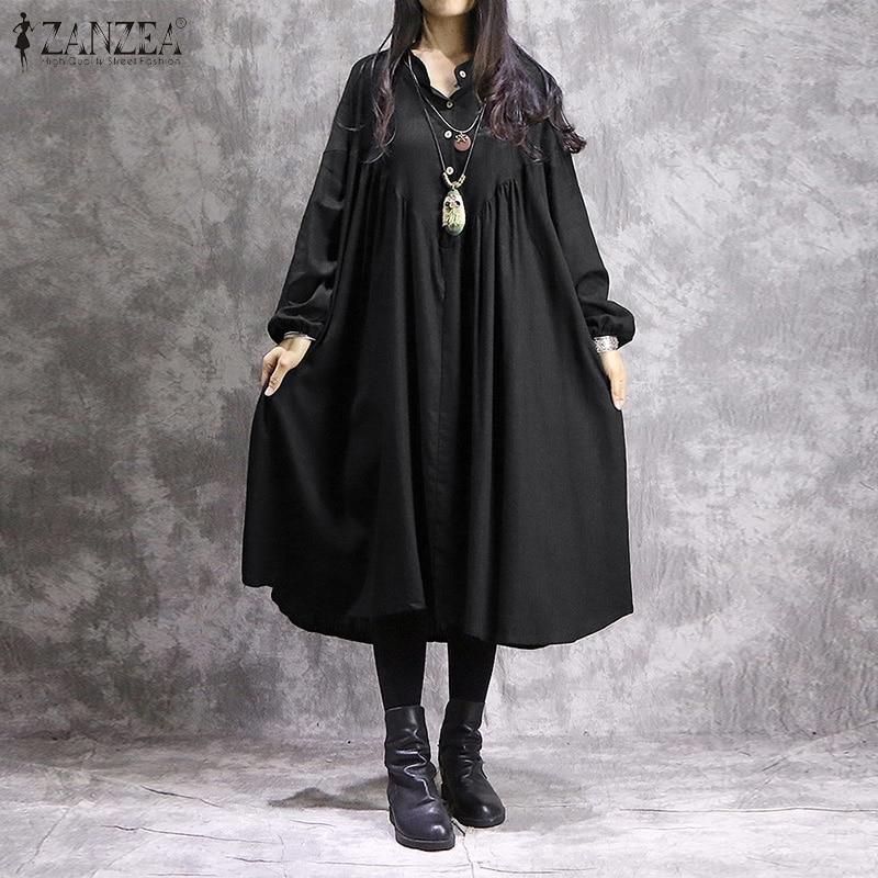 2020 ZANZEA Women Spring Long Sleeve Sundress Elegant Solid Shirt Dress Casual Midi Dresses Plus Size Femme Baggy Vestido