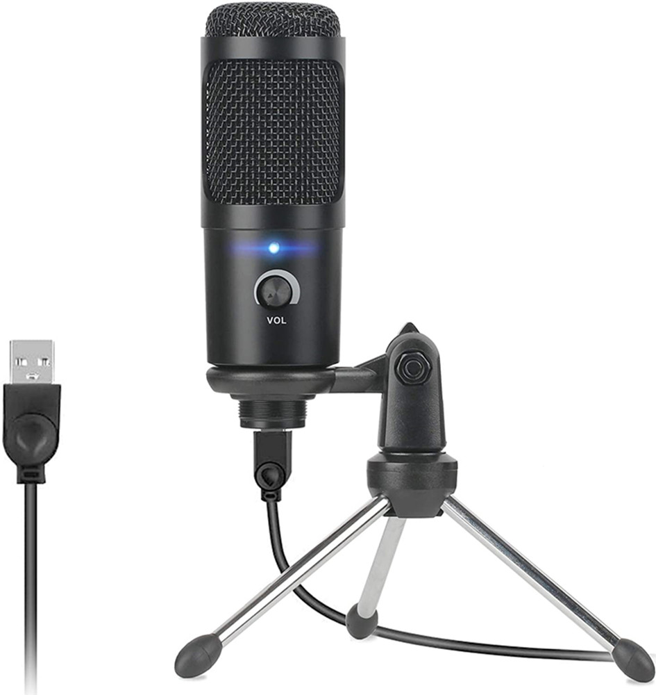 Micrófono de estudio profesional condensador con Cable Usb para Karaoke, micrófono de ordenador, soporte antigolpes, tapa de espuma y Cable para Pc y portátil