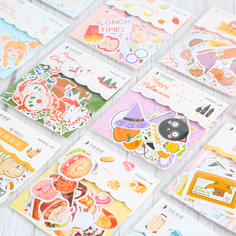 40 Pcs Christmas Stickers Bag Autumn Bullet Journal Stickers For Planner Diy Scrapbooking Girls Halloween Xmas Gift For Kids