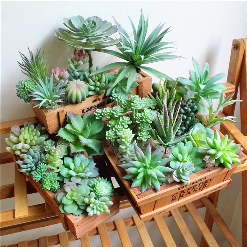 Artificial Succulents Green Flocking Plant Bonsai Desktop Fake Plants Valentine Day Christmas Wedding Decoration Plante