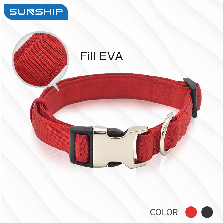 New Products Pet Collar Nylon Dog Collar Eva Proof Punch Semi-metallic Buckle Neck Ring