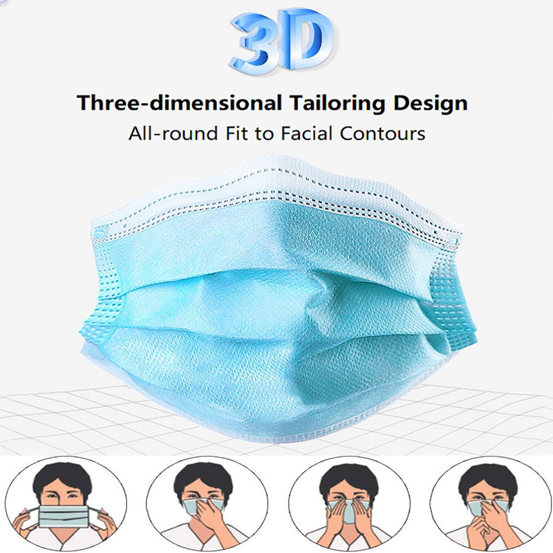 Image 5 - 50 Pcs 3 Ply Disposable Face Mouth Protective Masks Anti Haze Fog  PM2.5 Unisex Facial Safety Anti Dust Face Masks free shippingMasks