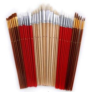 Image 3 - 38 adet/takım boya fırçaları kanvas çanta durumda uzun ahşap saplı sentetik saç sanat malzemeleri için yağ akrilik suluboya resim