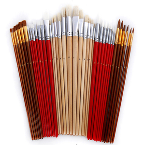Image 3 - 38 pcs/set Paint Brushes with Canvas Bag Case Long Wooden Handle Synthetic Hair Art Supplies for Oil Acrylic Watercolor Painting