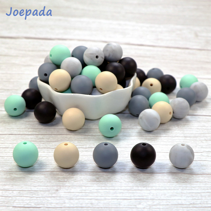 Joepada 30Pcs 9/12/15mm Bpa Free Silicone Beads Food Grade DIY Baby Pacifier Chain Toy Baby Teether Silcone Teething Beads