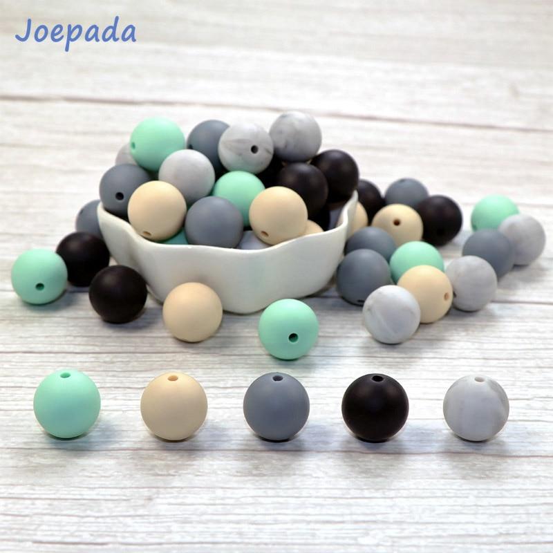 Joepada 30Pcs 9/12/15mm Bpa Free Silicone Beads Food Grade DIY Baby Pacifier Chain Toy Baby Teether Silcone Teething Beads