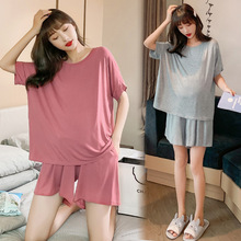 131# Summer Thin Modal Maternity Pajamas Suits Large Size Loose Soft Sleepwear Clothes for Pregnant