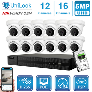 Image 2 - UniLook 16CH NVR 5MP Turret POE IP Camera 8/10/12/16PCS Outdoor Security Hikvision OEM ONVIF H.265 CCTV system NVR Kit With HDD