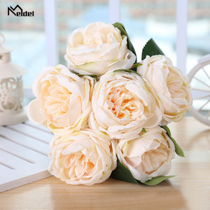 Meldel White Peony Flowers Artificial Flowers Bouquet Silk Flowers Red Pink Bundle New Year Wedding Home Decor Fake Flower Bunch