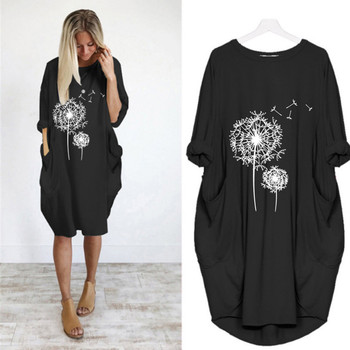 2021 Summer Loose Casual Dress For Fashion Women Casual Loose Print Pullover Dress Round Tie Pocket Dress Костюмы С Юбкой 2
