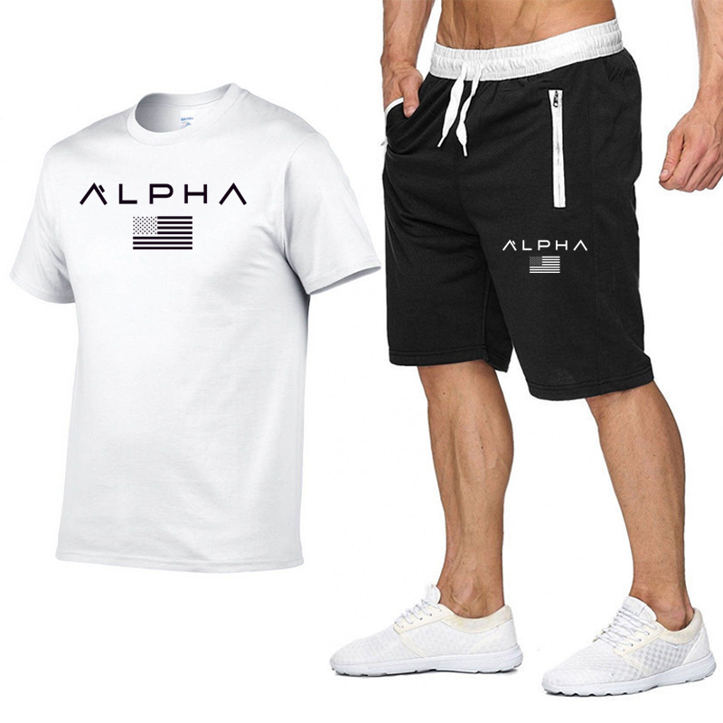 Summer Men Sportswear Gym Sport Suits Quick Dry Running Sets Clothes Sports Joggers Training Gym Fitness Tracksuits Running Set