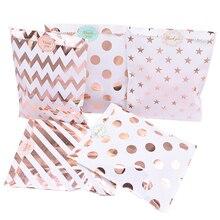 25 шт./упак. 18 см бумажные подарочные пакеты Чехол из розового золота бумага Еда безопасный Сумки на день рождения Свадебная вечеринка свадеб...