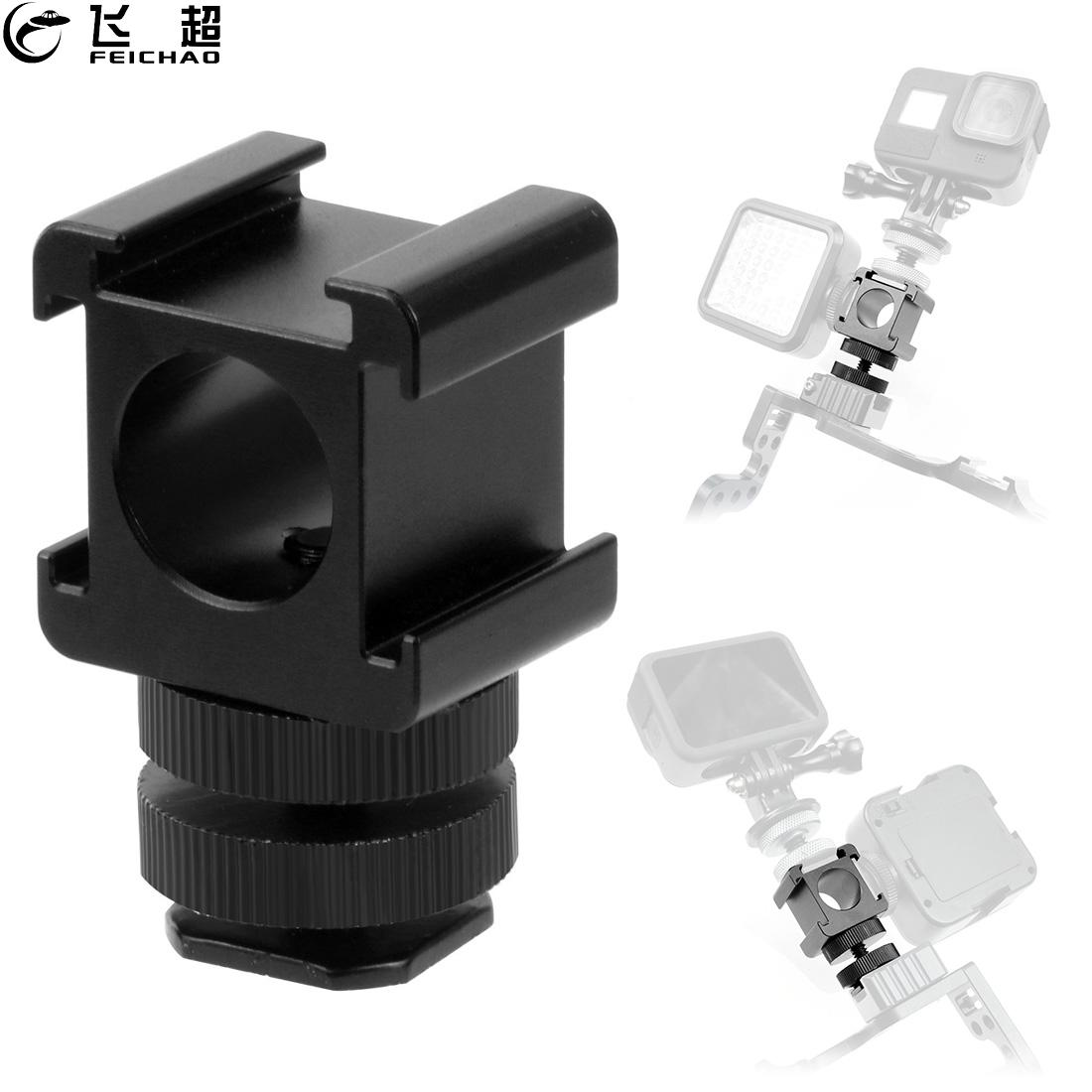 3 in 1 Cold Hot Shoe Adapter 1/4 Base Mount Microphone Monitor Stand Holder Bracket for LED Video Flash Light SLR Photography