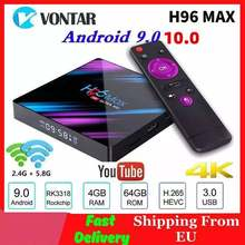 Vontar h96 max smart tv box android 10.0 rk3318 h96max 4k wifi android 10 media player youtube conjunto caixa superior 4gb ram 64gb rom