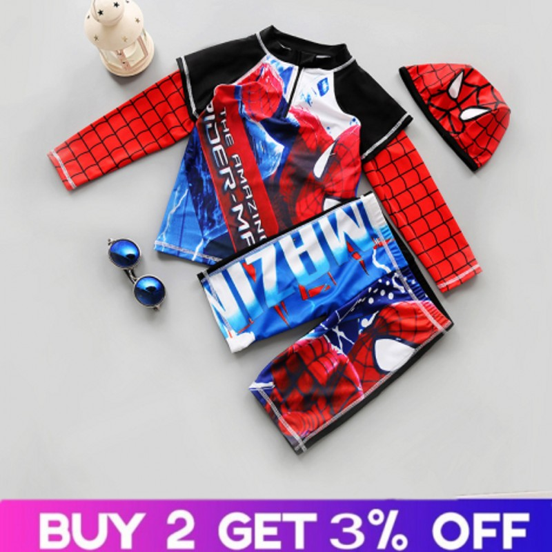 Spiderman Children Swimwear Two-Piece Kids Boys Long Sleeve Swimsuit With Hat UPF 50+ Sunscreen Wetsuit Boys Beach Trousers