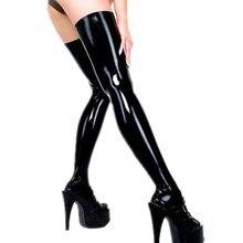 Mulheres mais tamanho meias de látex quente sexy night club meias de dança pólo feminino falso de couro ficar acima da coxa meias altas