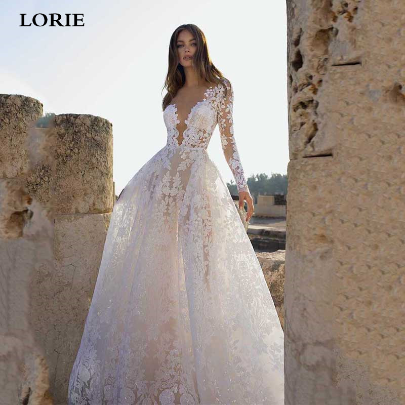 LORIE A Line Lace Wedding Dresses Long Sleeve Boho Bride Dresses Open Back Vestidos De Novia Princess Wedding Gowns