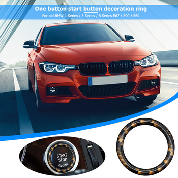 Carbon Fiber Car Engine Start Stop Button Ring Sticker Cover Trim Car Styling Accessories for BMW E87 E90 E60 1 3 5 Series image
