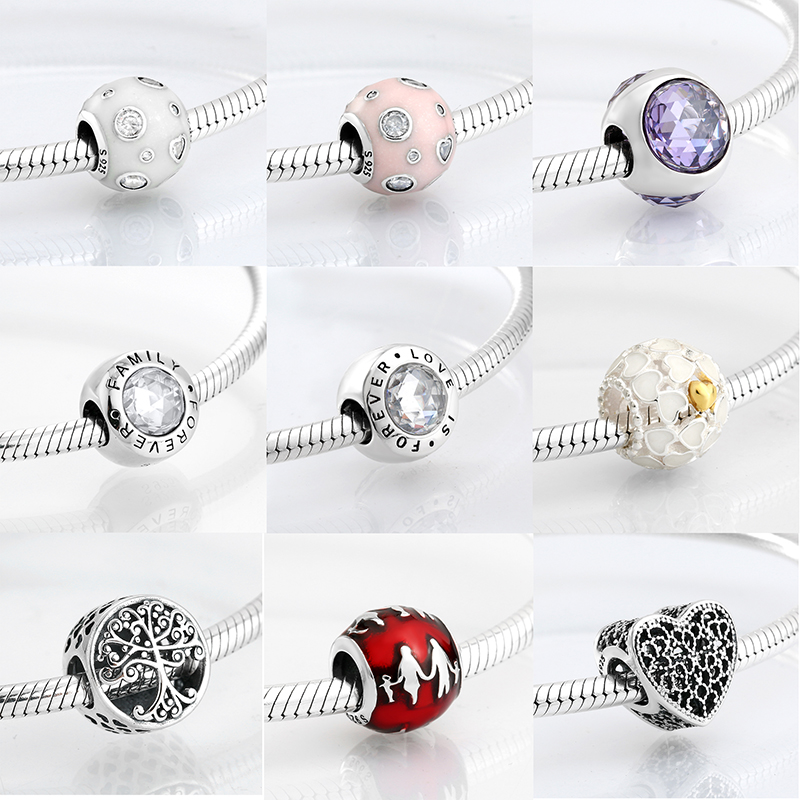 New 925 Sterling Silver Love Family Enamel Round shape CZ Beads Fit Original Charms Pandora Bracelet Bead Jewelry making Bijoux(China)