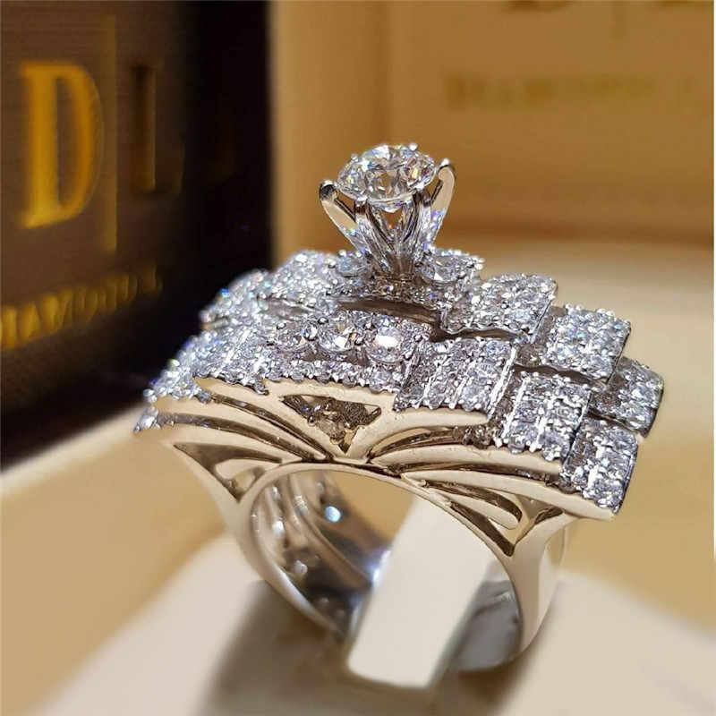 แบรนด์น่ารักหญิงคริสตัลสีขาวรอบแหวนชุด Luxury 925 แหวนหมั้นแหวนเงิน VINTAGE เจ้าสาวงานแต่งงานแหวน