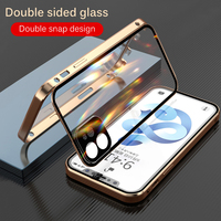Funda de cristal de doble cara para iPhone, protector de lente de prevención de caídas, a presión, para 11, 12 Pro Max, 12 mini, XS Max, X, XR, 7, 8 plus
