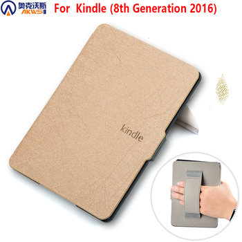 cover case for Kindle 8 2016 E-reader PU leather case for amazon kindle 8th generation 2016 sleepcover with hand grap new design case for amazon 2016 kindle 8th generation 6 ereader slim protective flip smart cover pu leather screen protector