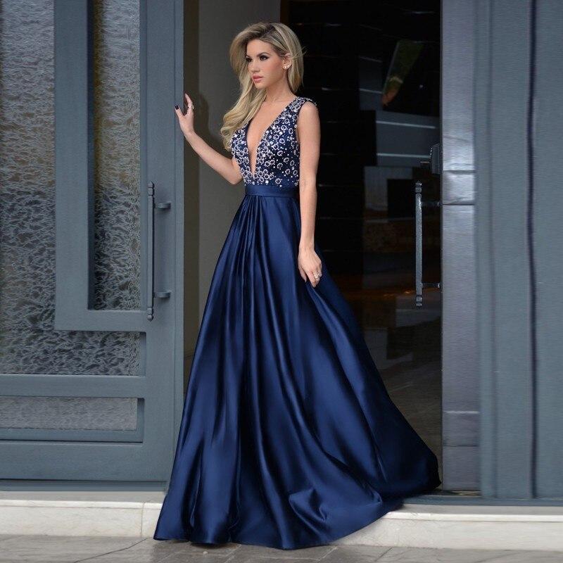 Abiti Da Sera On Line.Royal Blue Satin Prom Dress Sexy V Neck Backless A Line Evening