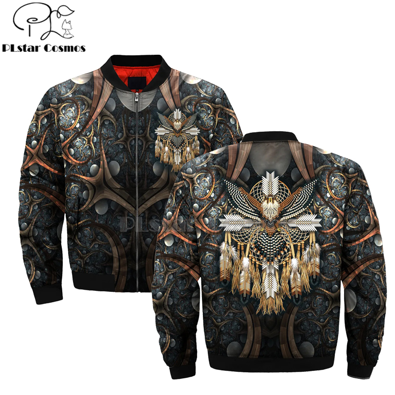 Native Indian Wolf Lion Tiger 3D Men's Bomber Jackets Hoodie Men Women New Fashion Zipper Hooded Long Sleeve Pullover Style-7