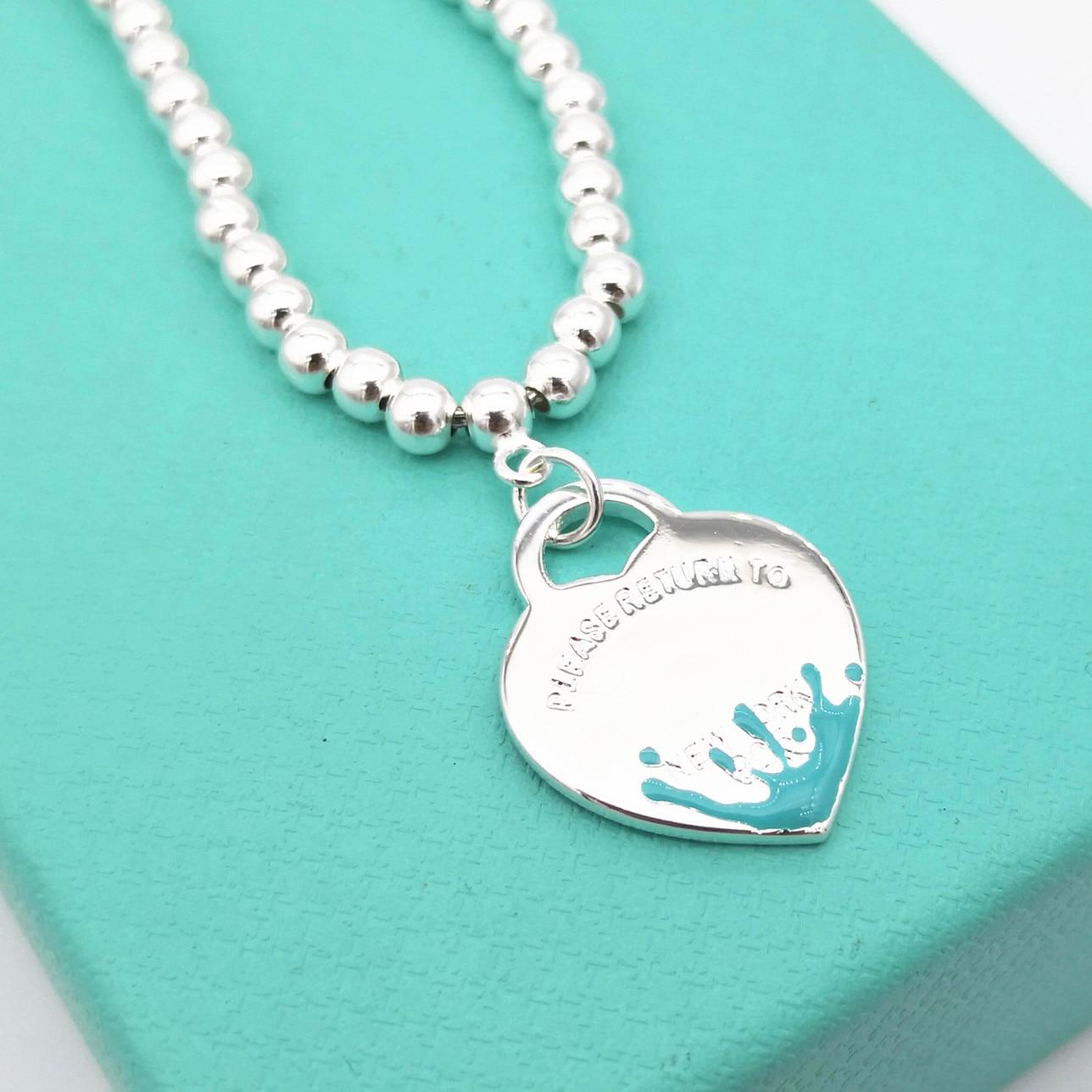 Классические женские s925 серебро сердце образный синий всплеск